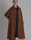 A-line flared coat - Brown