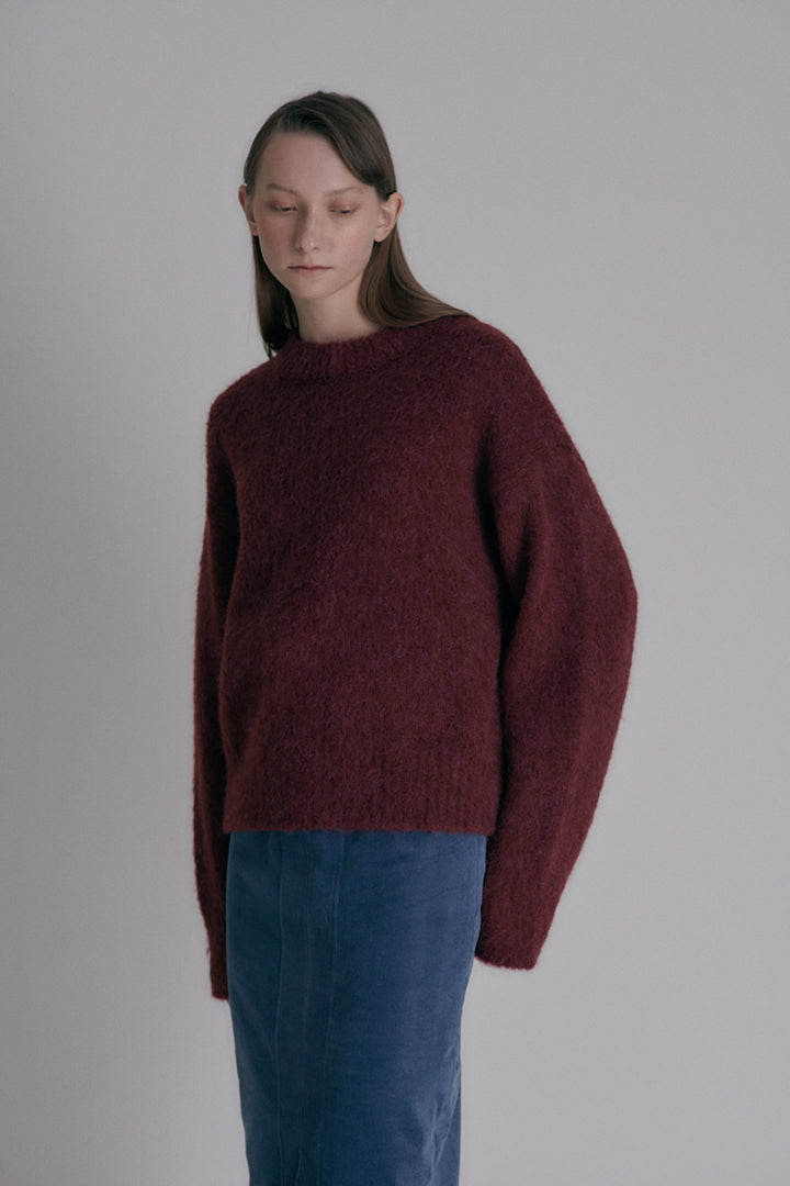 Brushed  round-neck knit - Burgundy