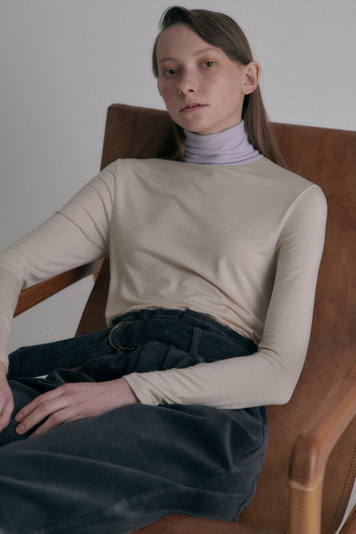 Color block turtle neck top - Light Beige + Light Violet
