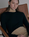 Color block turtle neck top - Black + Beige