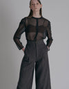 Suspender wool pants - Chocolate