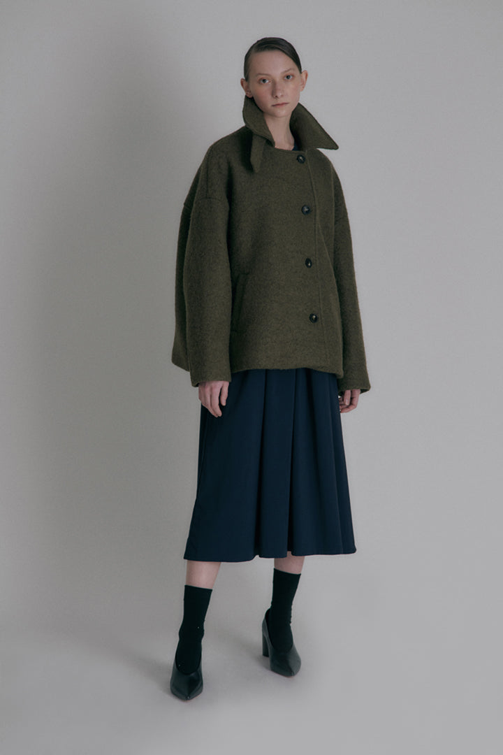 Over-fit short coat - Khaki