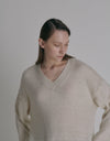 unbalanced long knit - Oatmeal