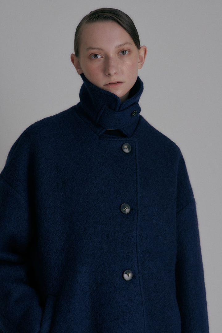 Over-fit short coat - Navy