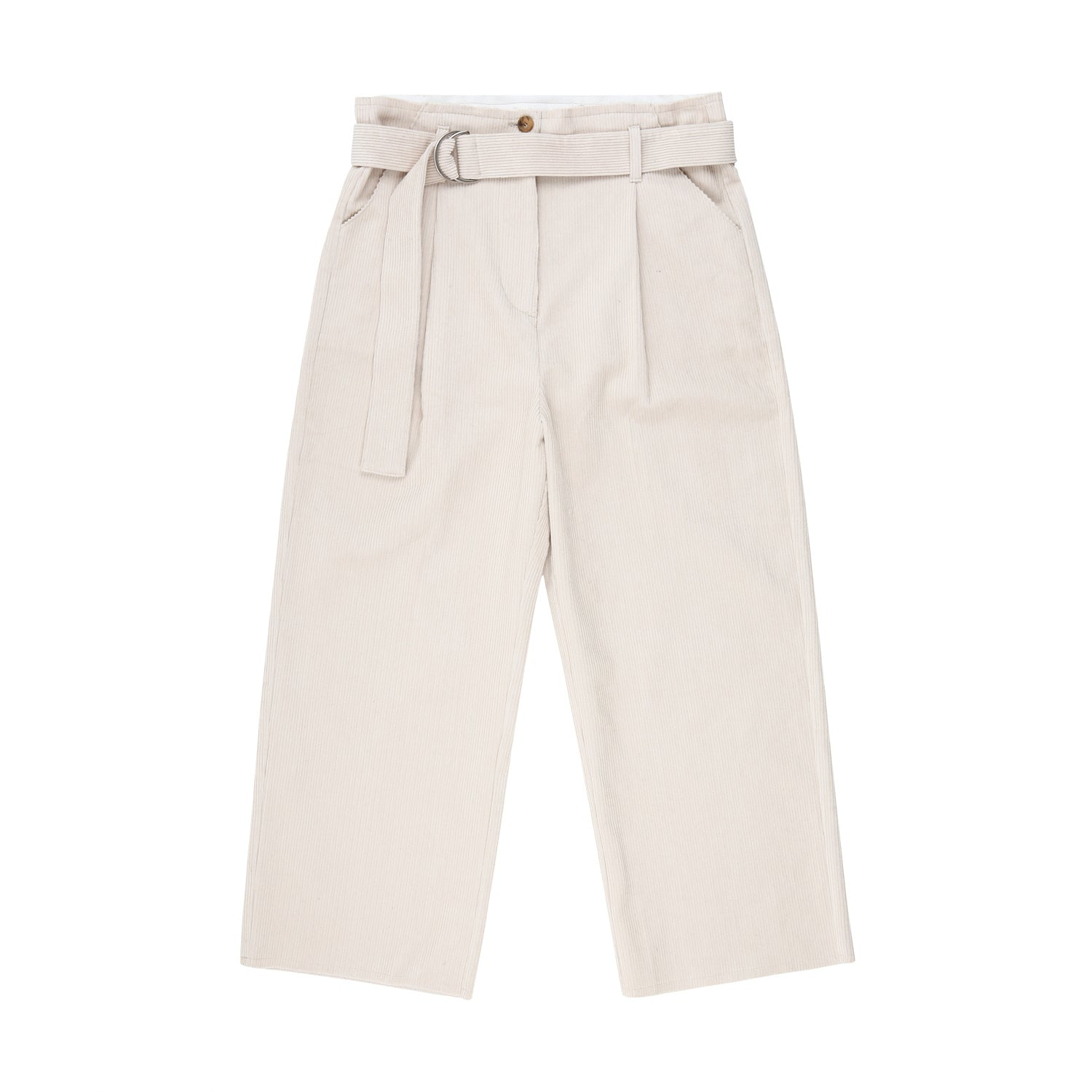 Corduroy Belted pants - Ivory