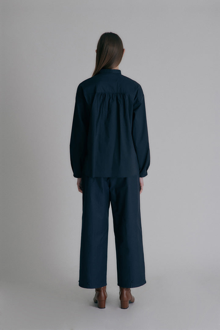 Cotton button pants - Dark Navy