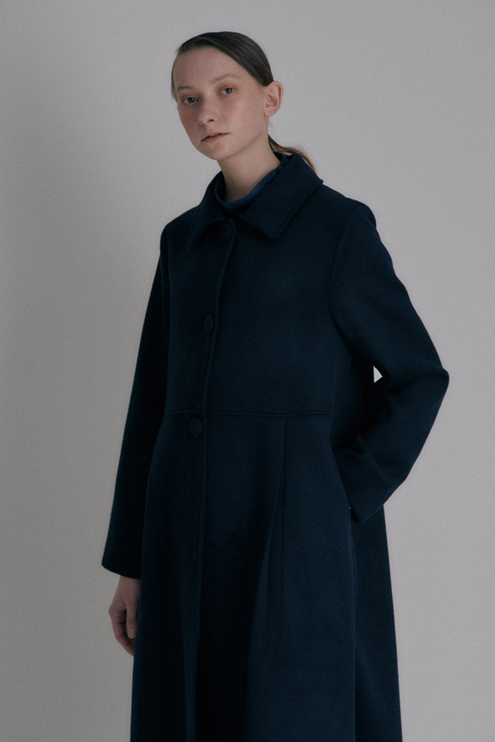 A-line flared coat - Dark Navy