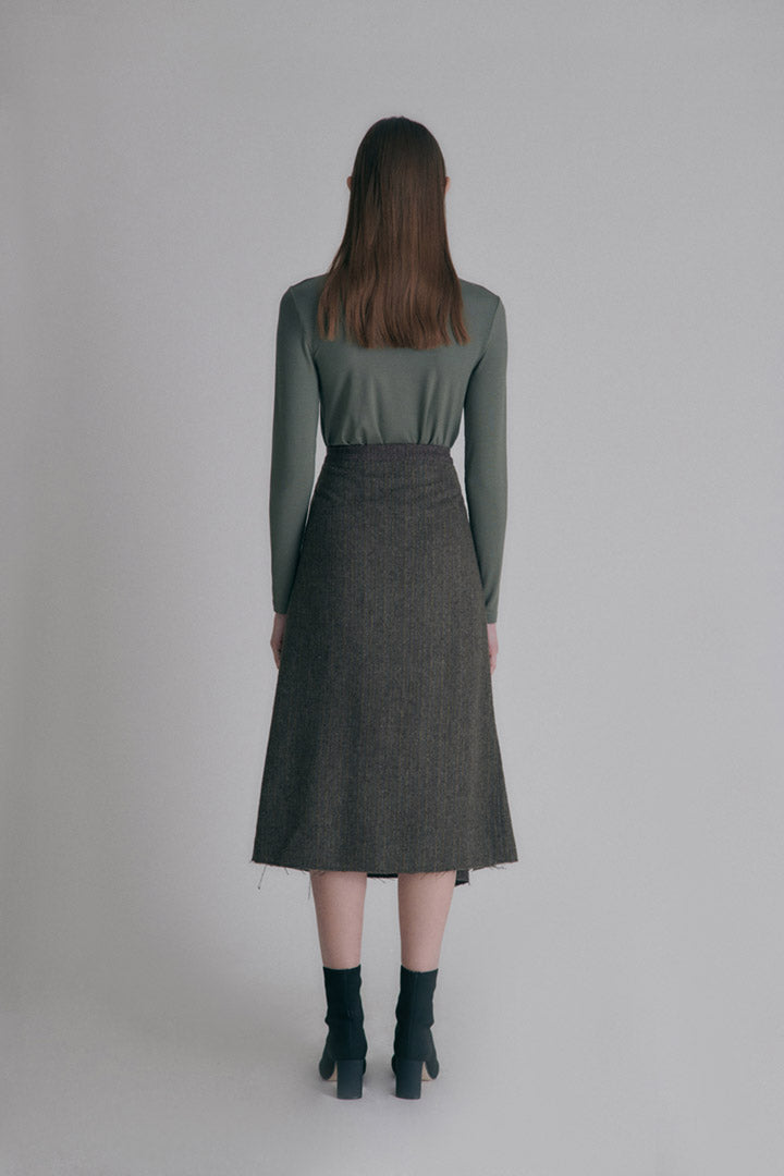 Wool string skirt - Chocolate+Brown