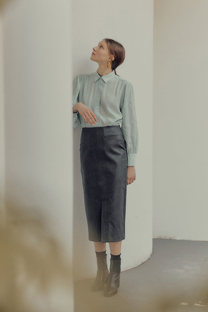 Eco leather slit pencil skirt