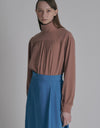 High neck blouse - Dark Beige