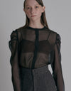 See-through blouse - Dark Brown