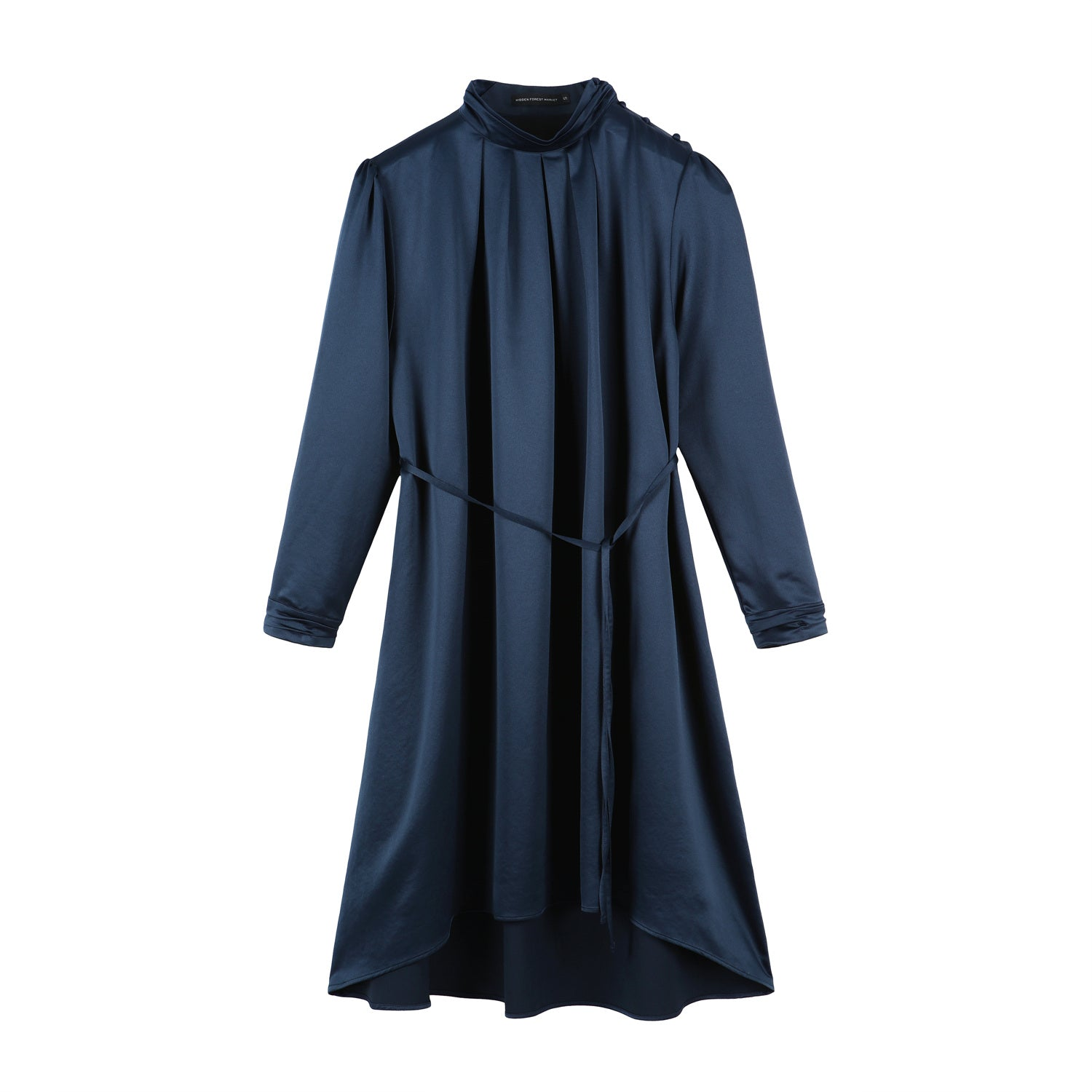 High-neck shirring dress - Navy