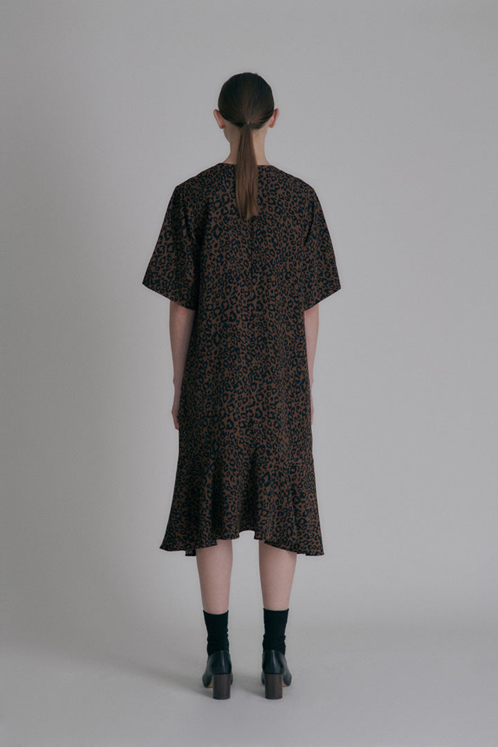 Leopard print dress - Brown