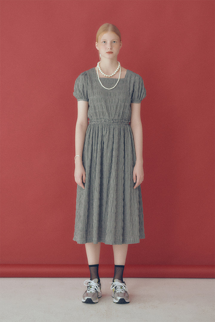 Rosalie Square-neck Check Dress