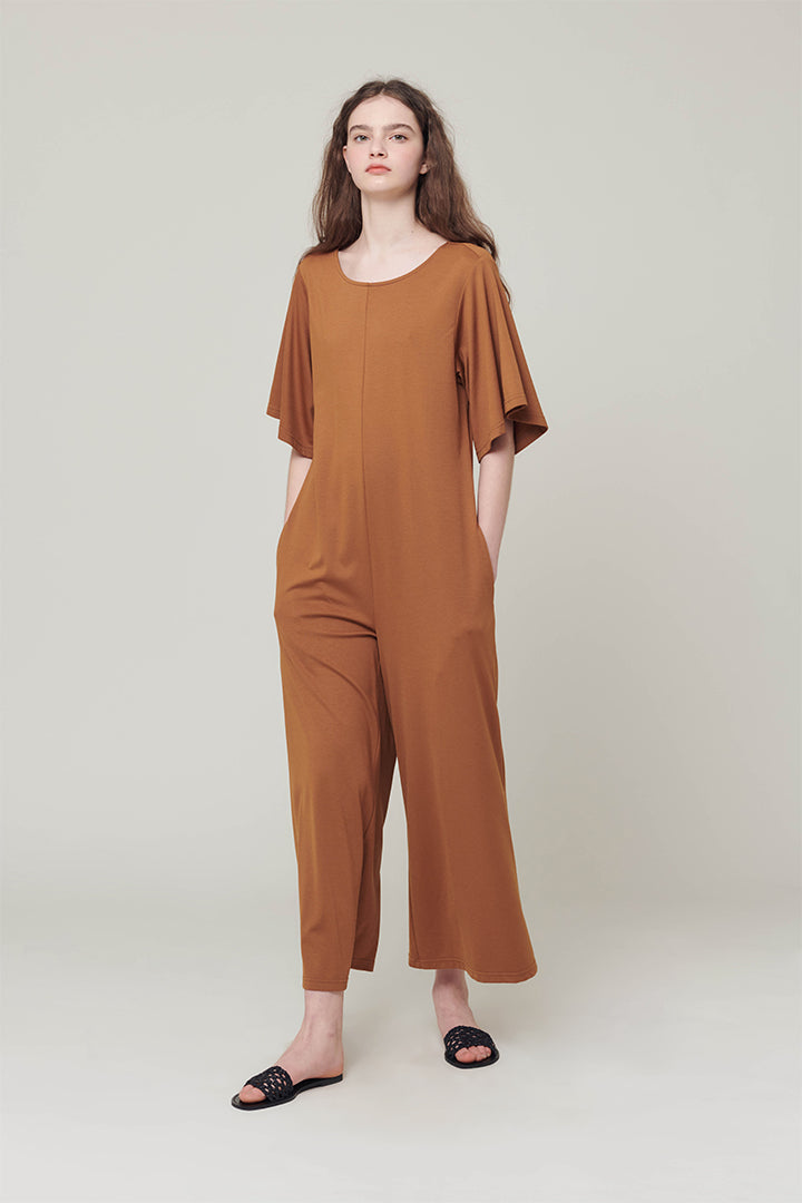 Open back shirring jump-suit