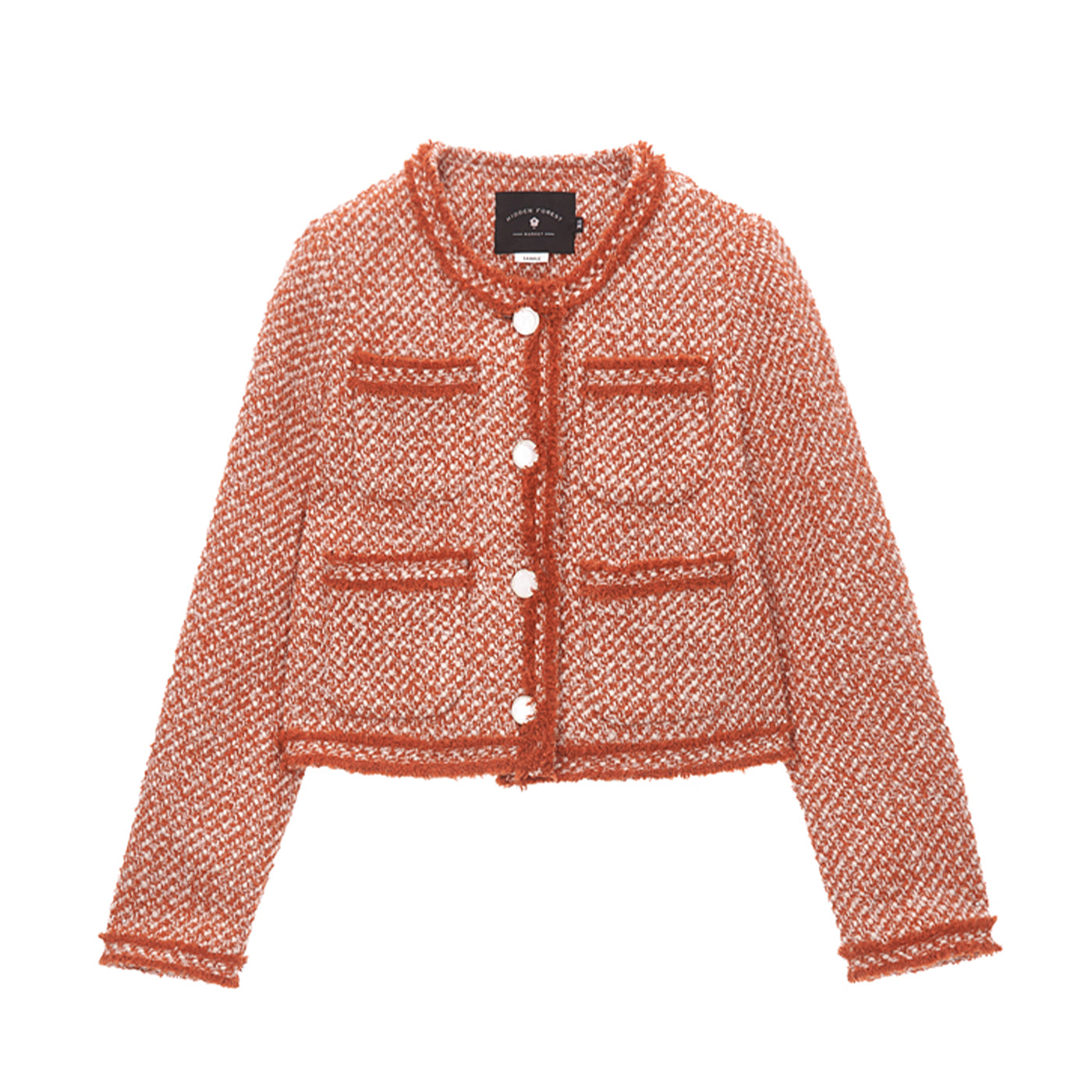 Blanc crop tweed jacket