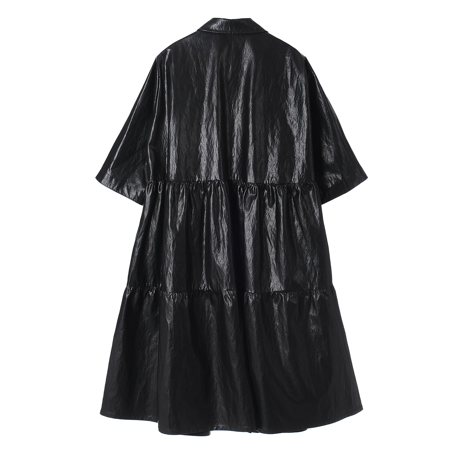 Neul - Eco Leather Tiered Shirt Dress