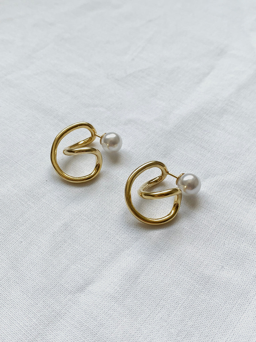 Curve Pearl 2way Earring GOLD
