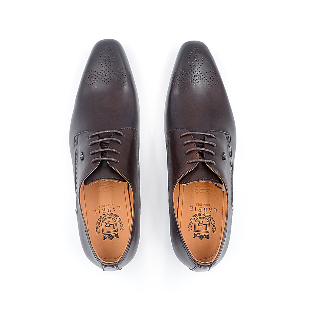 LR LARRIE Coffee Lace Up Formal Shoes