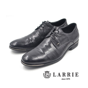 LR LARRIE Black Glossy Lace Up Business Shoes