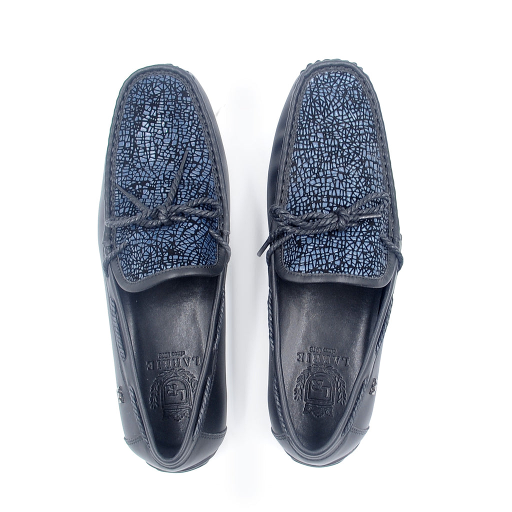 LR LARRIE Dark Navy Smooth Buckled Moccasins