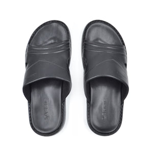 LARRIE Men Black Crossed Stitch Sandals