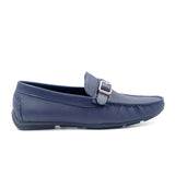 LR LARRIE Dark Navy Buckled Moccasins