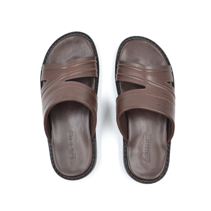 LARRIE Men Coffee Crossed Stitch Sandals