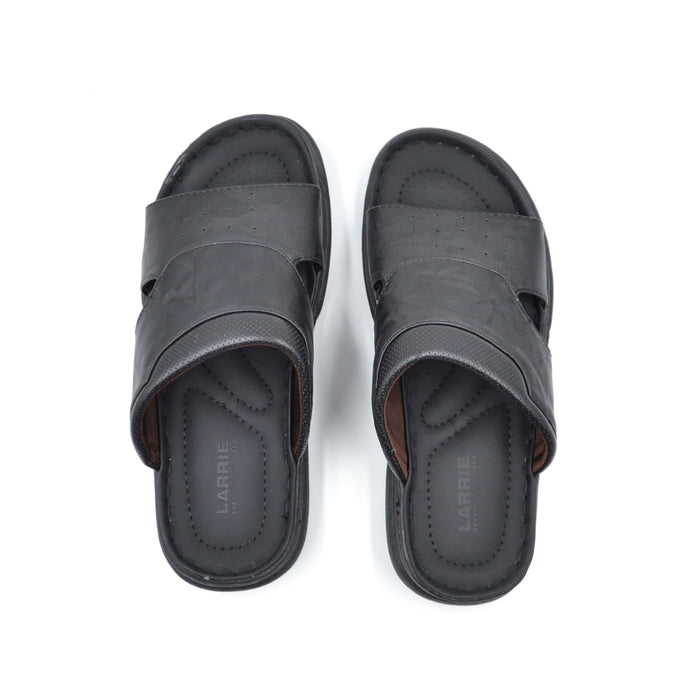 LARRIE Men Black Laid-Back Wide Strap Sandals