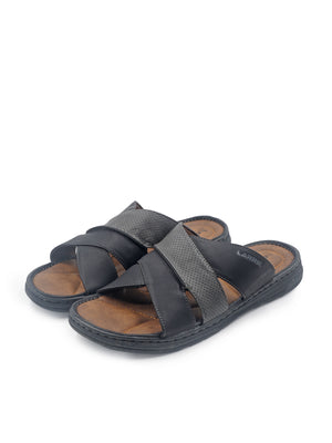Larrie Black Crossed Strap Sandals