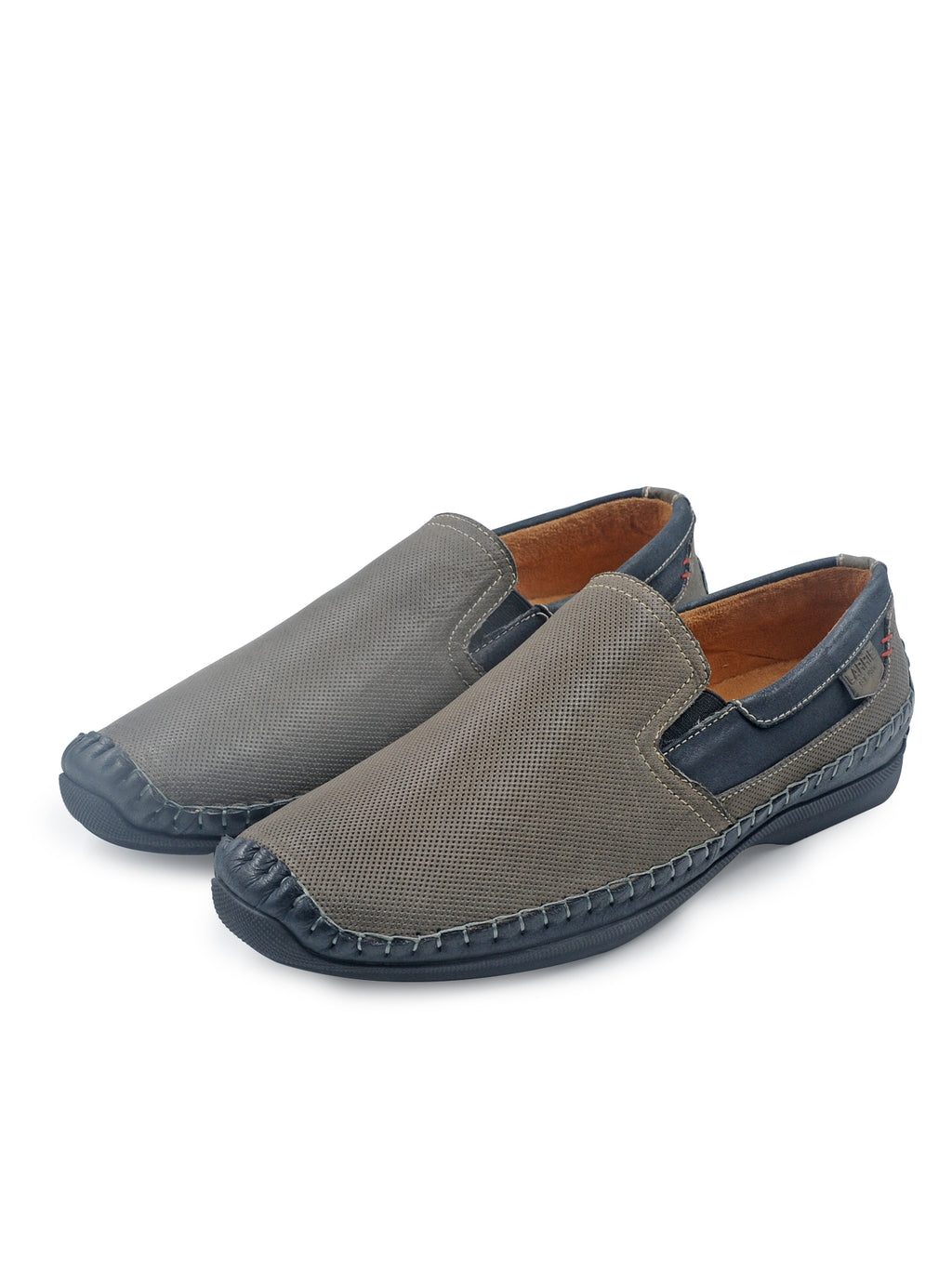 Larrie Grey Contrast Panel Loafers