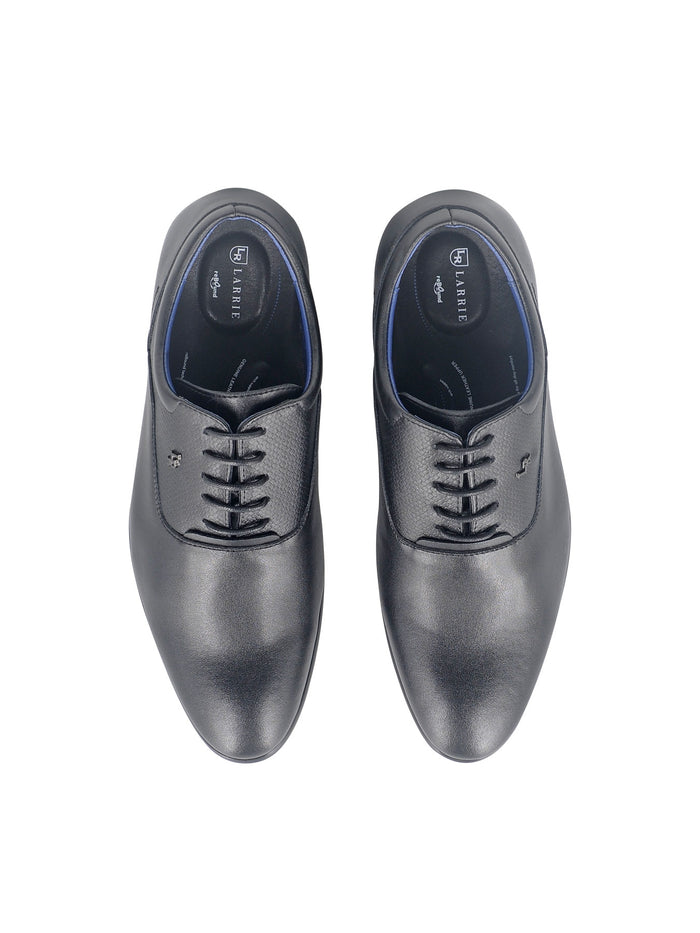 LR Larrie Black Textured Panel Lace Up Business Shoes