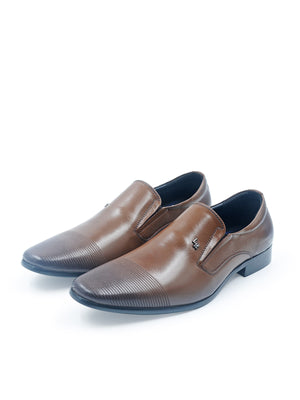 LR Larrie Dark Brown Lined Front Panel Business Shoes
