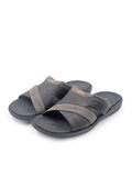 Larrie Black Stitched Panel Sandals