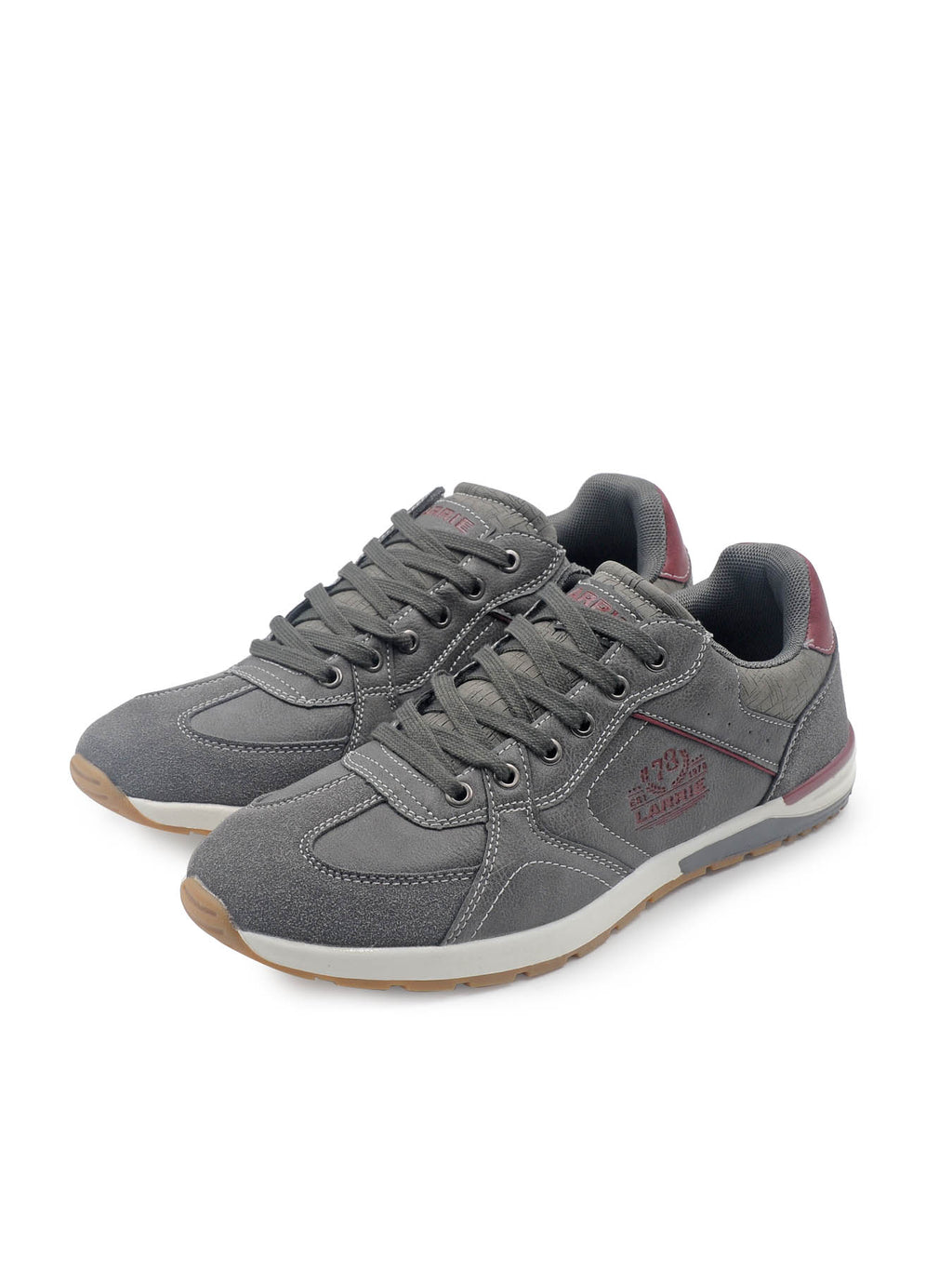 Larrie Grey Stitched Detail Sneakers