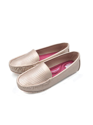 Larrie Pink Lightweight Perforated Slip On Loafers