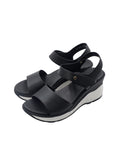 Larrie Black Adjustable Velcro Fashionable Wedges Sandals