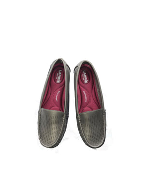 Larrie Grey Lightweight Perforated Slip On Loafers