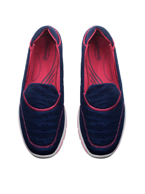 Larrie Navy Comfy Soft Slip-On Casual Flats
