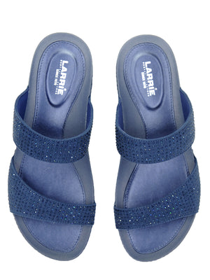 Larrie Navy Glitter Dual Strap Comfort Sandals