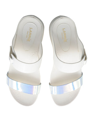 Larrie White Dual Strap Stylish Sandals