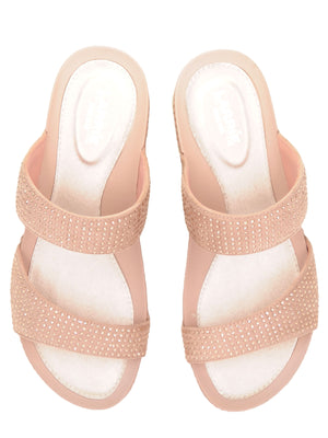 Larrie Pink Glitter Dual Strap Comfort Sandals