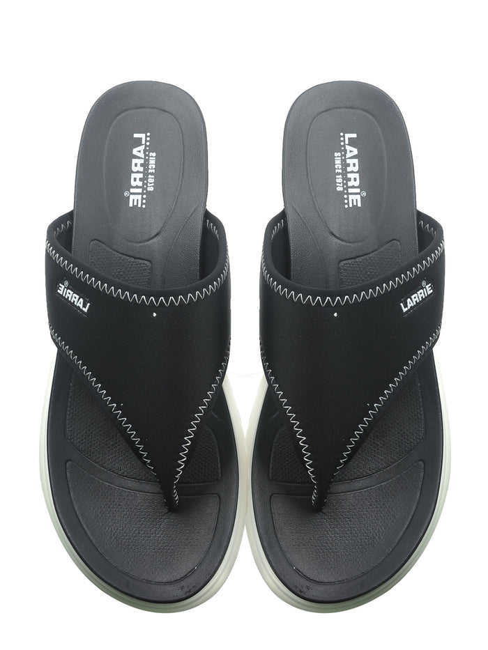 Larrie Black Comfort Thong Slip On Sandals