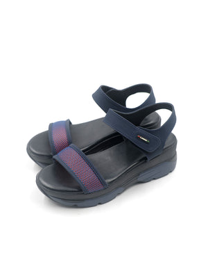 Larrie Navy Velcro Strap Low Platform Sandals