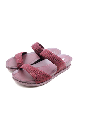 Larrie Red Glitter Dual Strap Comfort Sandals