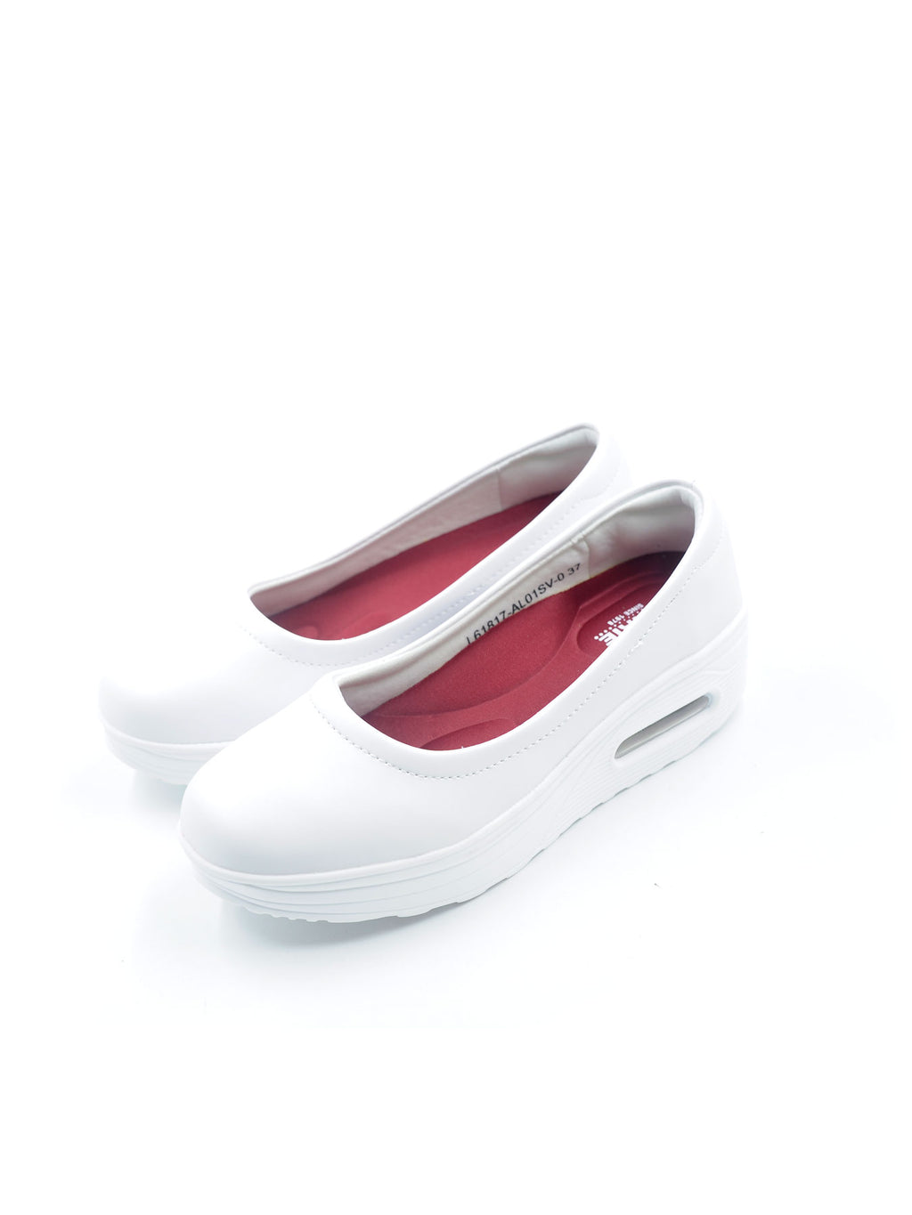 Larrie White Air Pockets Platform Casual Sneakers