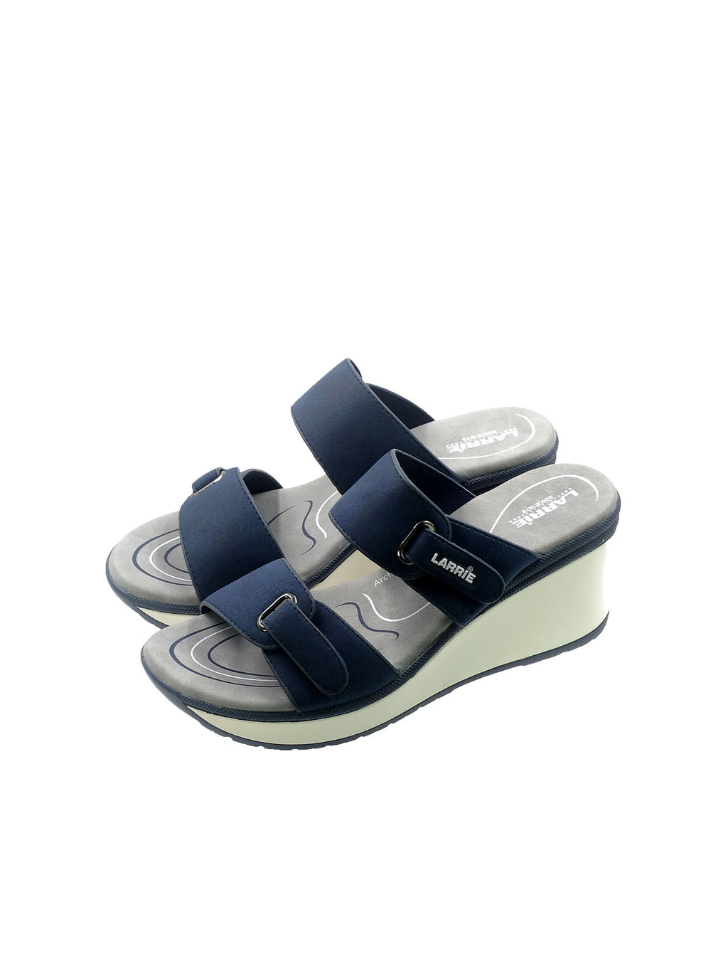 Larrie Navy Softly Sassy Height Wedges Sandals