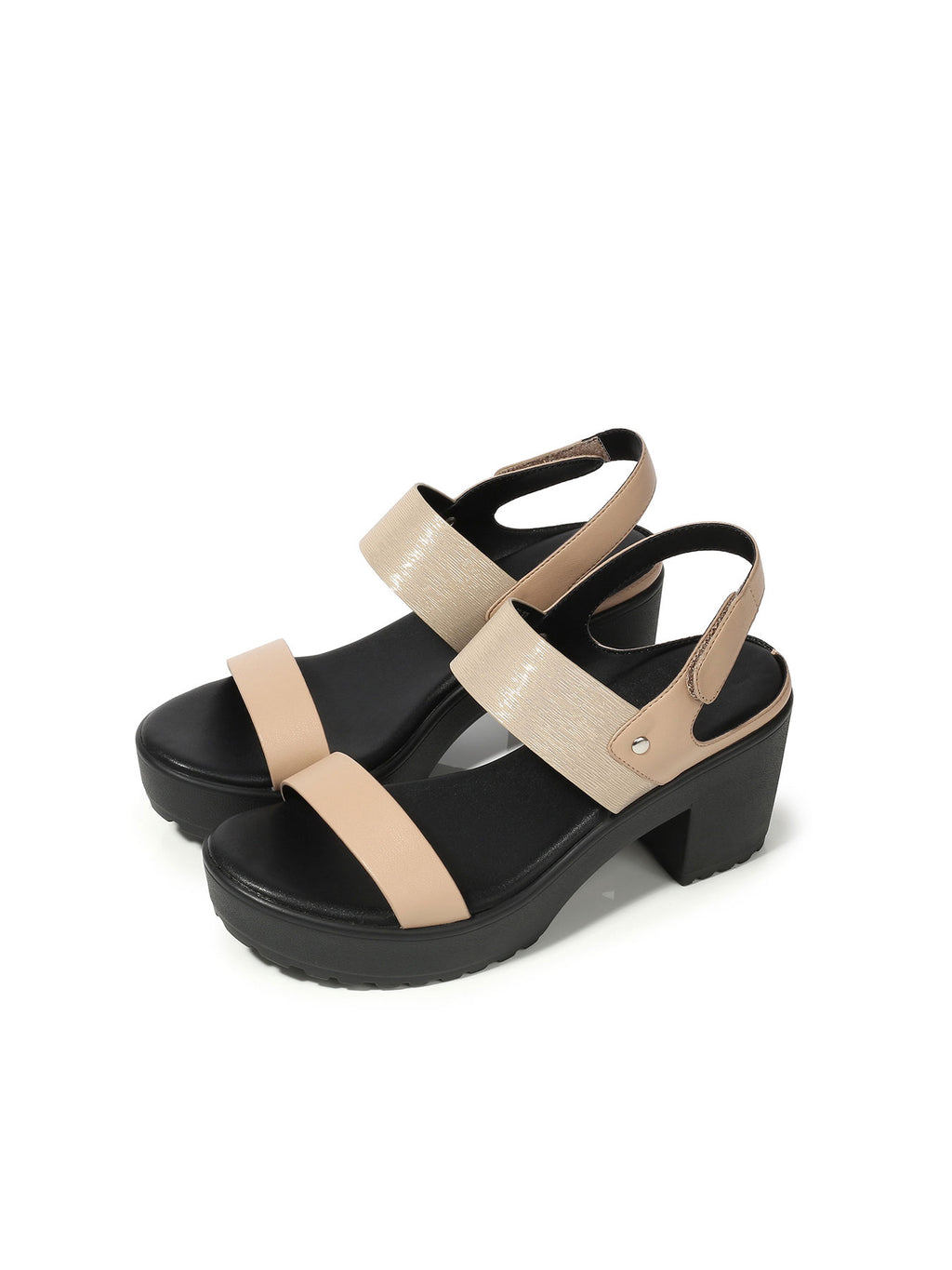 Larrie Pink Velcro Strap Fashionable Heeled Sandals