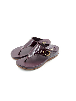 Larrie Maroon Metallic Coated Comfortable Sandals
