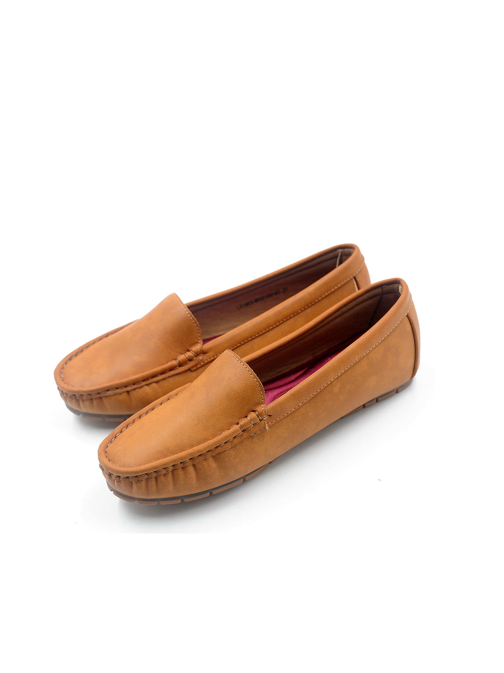 Larrie Camel Front Stitching Secure Loafer Flats